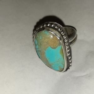 Handmade Rustic Sterling Turquoise Ring.
